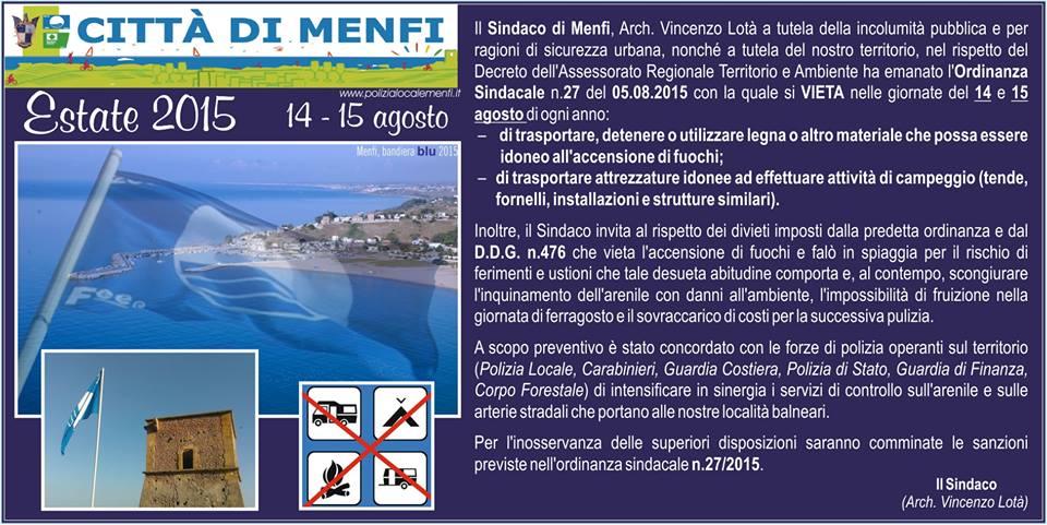 ordinanza sindacale menfi n 27 del 5 agosto 2015