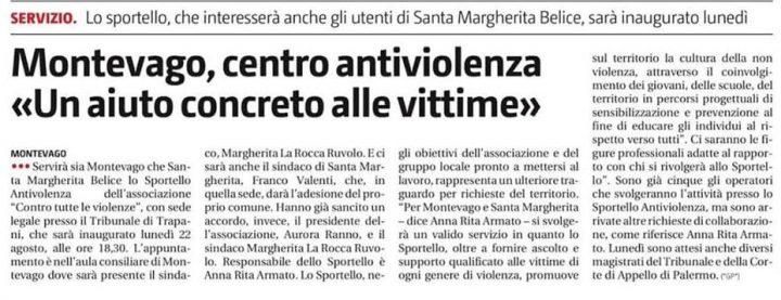 21.08.2016 (693) Giornale di Sicilia di sabato 20 agosto 2016.